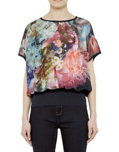 Ted Baker 2 / 10 Farligh Focus Bouquet Crepe Floral Short Sleeve Top Blouse NEW