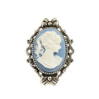 Victorian Gothic Blue Cameo ring - Portrait of a lady - silver steampunk wedding