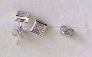 Mens Ladies 925 Sterling Silver Cubic Zirconia CZ Stud Earrings Gift UK