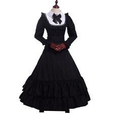Women Victorian Bowknot Ball Gown Black Gothic Cosutme Dress Reenactment Dress