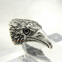 Men Huge Stainless Steel Tribal Hawk Eagle Biker Ring Vintage Silver Black CZ