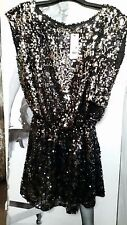 PARTY MINI PIEGA Skater Dress Argento & Nero Paillettes House of Fraser RARO 8