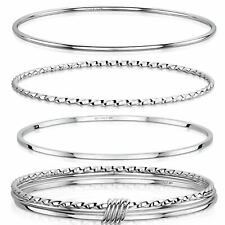 Amberta Genuine 925 Sterling Silver Bracelet Real Bangle for Women Made in Italy