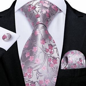 DiBanGu Gray Mens Silk Tie Jacquard Floral Necktie Pocket Square Cufflinks Set