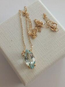 9Kt Gold Aquamarine Slider Pendant Necklace