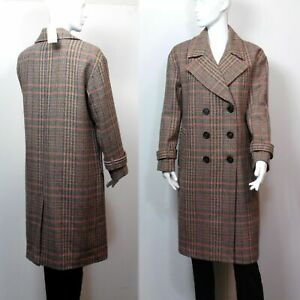 PER UNA Wool Blend DOUBLE BREASTED OVERCOAT ~ Size 12 ~ PINK MIX CHECK, rrp £129