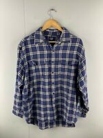 GAP Mens Blue Plaid Vintage Western Long Sleeve Button Up Shirt Size Large