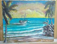 Original Acrylic Painting 8 x10 Canvas Panel Boat at Sea Sunset Art