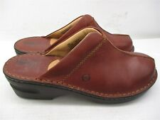 BORN Wedge Slippers Women's Size 10 Casual Slip On Brown Leather