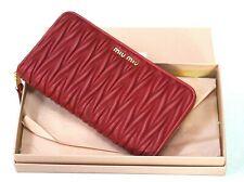 Miu MIu Prada Matelasse Red Quilted Leather Zip-Around Wallet Clutch New w/Box