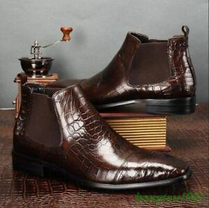 Handmade Men Brown Color Crocodile Embossed Calfskin Leather Chelsea ankle boot