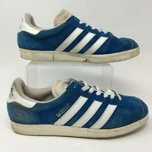 Adidas Gazelle Sneakers Mens 8 M Blue Suede Casual Shoes Low Top Lace Up Comfort