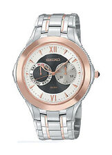 SEIKO $450 MEN'S TWO-TONE ROSE GOLD & SS WATCH, DATE, 2 SUBDIALS   SGN018