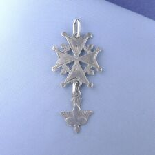 Antique Sterling Silver Huguenot Cross / Pendant Charm