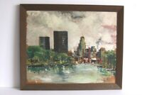 Signed Mid Century 1950's Cityscape Abstract Impressionism Oil Painting