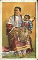 Native American Indian Woman & Baby Buffalo Bill's Wild West Show Postcard