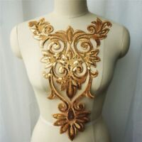 Appliques Embroidered Gown Fabric Gold Baroque Sew Iron Patches Wedding Decors