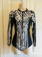 Volcom MEDIUM Stay Tuned BODYSUIT Long-Sleeve Swimsuit Black/White M