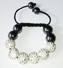 SPARKLY CHILDRENS 6 CZECH CRYSTAL BEAD  WHITE SHAMBALLA BRACELET - BLACK CORD