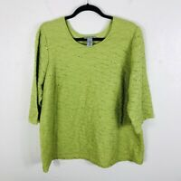Maggie Barnes For Catherines Plus Size 1X Green Sequin Knit Top 3/4 Sleeve