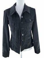 Talbots stretch women's jacket size 4 black velvet pockets lightweight
