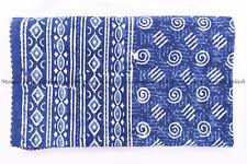 Indian blue dot indigo kantha quilt handmade bedspread bedding blanket king size