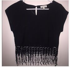 Monteau Los Angeles Ladies (small) Fringe bottom black