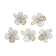 New 5PCs Charm Pendants Flower Gold Plated White Clear Rhinestone Enamel