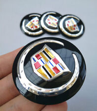 "4Pcs 2.2"" Black Wheel Center Hub Caps Emblem Badge Alloy Decal For Cadillac"