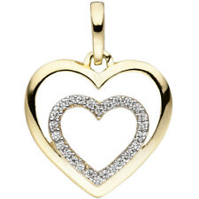 Colgante Corazón Corazones Oro 375 Amarillo Bicolor 26 Circonia de