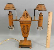 Antique Early 20thC French Painted Tin Toleware Double Table Lamp, NR