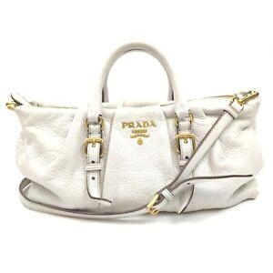 Prada Hand Bag  Whites Leather 1511817