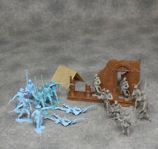 1960's Marx Blue & Gray Play Set Civil War Figures + Destroyed Mansion