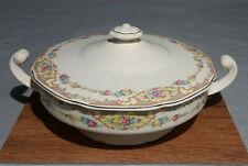 Vintage Usa Ceramic Lidded Casserole Tureen with Rose Floral Pattern