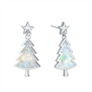 Fashion Christmas Tree Silver Filled White Fire Simulated Opal Ear Stud Earring