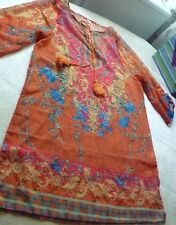 Bohemian V-Neck 3/4 Sleeve Print Lace-Up Women's Dress Jr size M