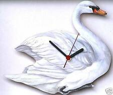 More details for swan wooden wall clock new made in uk gift boxed