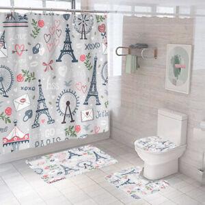 Eiffel Tower Bathroom Rug Set Shower Curtain Non Slip Toilet Lid Cover Bath Mat