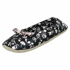 X2R098 SPOT ON LADIES SLIP ON BOW FLORAL SOFT INDOOR HOUSE BALLERINA SLIPPERS