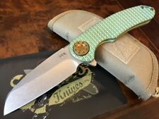 Curtiss Knives F3 Large WH/FR Wharny Frag Pattern Green Titanium Hardware
