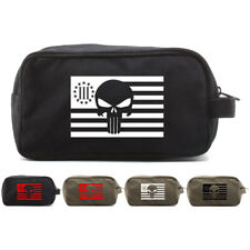 Punisher Skull Three Percenter American Flag Dual Compartment Toiletry Bag