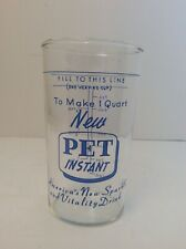 Vintage New Pet Instant Milk Advertising Glass with Measures
