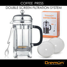 French Coffee Press 8 Cup (32 Oz), Double Filtration - Chrome   Brand New