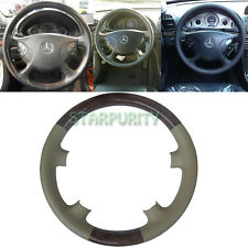 Tan Leather Wood Steering Wheel Cover Cap for 02-05 Mercedes Benz W211 E Class