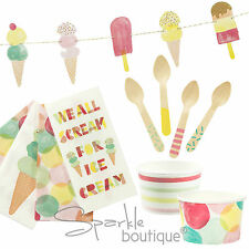 ICE CREAM PARTY SET - Napkins, Tubs, Wooden Spoons & Bunting - Summer Party/BBQ