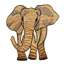 ID 0688 African Elephant Patch Safari Wild Life Zoo Embroidered Iron On Applique