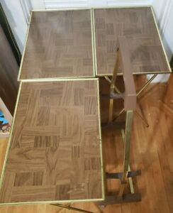 Set Of 3 Vintage Faux Wood TV Tray Tables - Brass Colored Legs & Stand