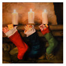 CHRISTMAS LED LIGHT UP CANVAS PICTURES FESTIVE STOCKINGS WALL ART DECORATION