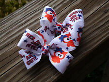 """Hair Bows Two Medium 2"""" Red, white and cute owl grossgrain ribbon hair bow USA"""