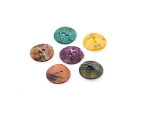 50 Mother of Pearl Buttons. Flat Round, Mixed Color 10mm 15mm. Crafts Sewing